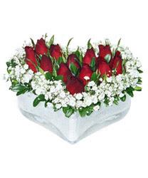 Ağrı internetten çiçek siparişi  mika kalp içerisinde 9 adet kirmizi gül