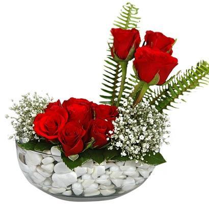 cam içerisinde 9 adet kirmizi gül  Ağrı çiçek siparişi vermek
