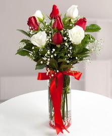 5 kırmızı 4 beyaz gül vazoda  Ağrı cicekciler , cicek siparisi