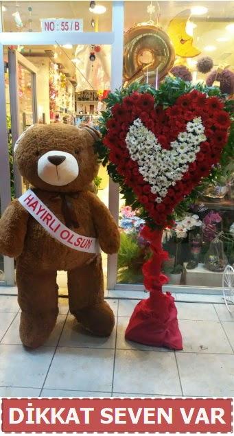 1.5 Metre peluş ayı ve Kalp  Ağrı çiçek gönderme sitemiz güvenlidir