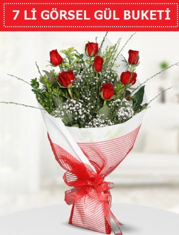 7 adet kırmızı gül buketi Aşk budur  Ağrı çiçek satışı