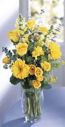 Ağrı online çiçek gönderme sipariş  sari güller ve gerbera cam yada mika vazo