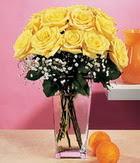 Ağrı internetten çiçek satışı  9 adet sari güllerden cam yada mika vazo