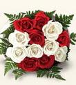 Ağrı çiçek , çiçekçi , çiçekçilik  10 adet kirmizi beyaz güller - anneler günü için ideal seçimdir -