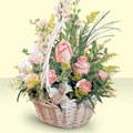 Ağrı 14 şubat sevgililer günü çiçek  sepette pembe güller