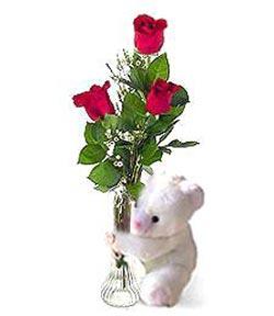 oyuncak ve 3 adet gül  Ağrı çiçek siparişi sitesi