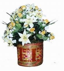 yapay karisik çiçek sepeti   Ağrı cicekciler , cicek siparisi