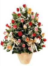 91 adet renkli gül aranjman   Ağrı çiçek gönderme sitemiz güvenlidir