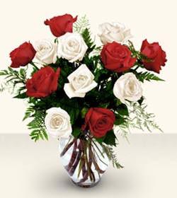Ağrı uluslararası çiçek gönderme  6 adet kirmizi 6 adet beyaz gül cam içerisinde