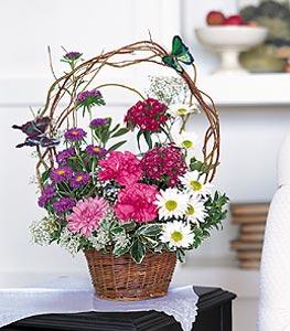 Ağrı cicekciler , cicek siparisi  sepet içerisinde karanfil gerbera ve kir çiçekleri