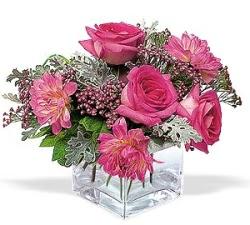 Ağrı cicekciler , cicek siparisi  cam içerisinde 5 gül 7 gerbera çiçegi