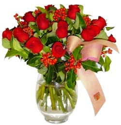 Ağrı çiçekçi mağazası  11 adet kirmizi gül  cam aranjman halinde