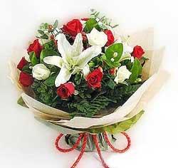 güller ve kazablanklardan görsel bir buket  Ağrı internetten çiçek satışı