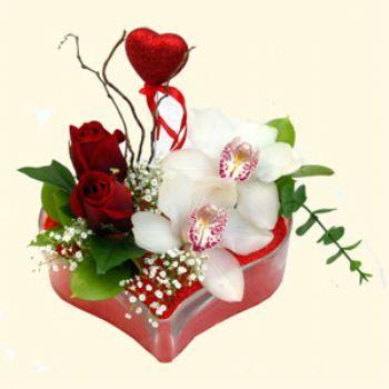 Ağrı hediye sevgilime hediye çiçek  1 kandil orkide 5 adet kirmizi gül mika kalp
