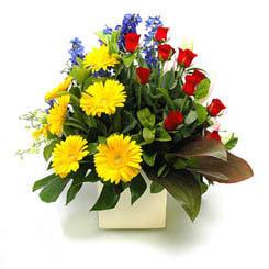 Ağrı online çiçek gönderme sipariş  9 adet gül ve kir çiçekleri cam yada mika vazoda