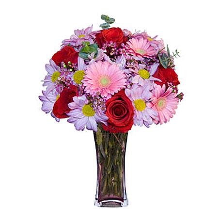 Görsel hediye karisik cam mevsim demeti  Ağrı çiçekçi mağazası