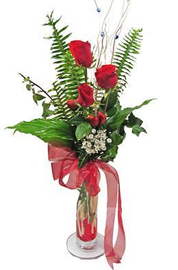 Çiçek gönderin cam vazoda 3 gül çiçekleri  Ağrı çiçek siparişi sitesi