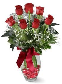 7 adet vazoda gül  Ağrı internetten çiçek satışı  kirmizi gül