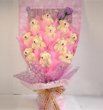 11 adet pelus ayicik buketi  Ağrı çiçek yolla