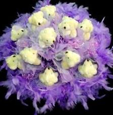 11 adet pelus ayicik buketi  Ağrı çiçek , çiçekçi , çiçekçilik
