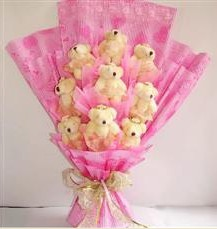 9 adet pelus ayicik buketi  Ağrı anneler günü çiçek yolla