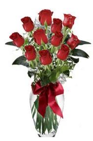 11 adet kirmizi gül vazo mika vazo içinde  Ağrı 14 şubat sevgililer günü çiçek