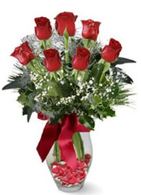 Ağrı internetten çiçek siparişi  7 adet kirmizi gül cam vazo yada mika vazoda