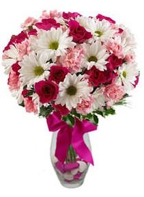 Ağrı çiçek siparişi sitesi  Karisik mevsim kir çiçegi vazosu