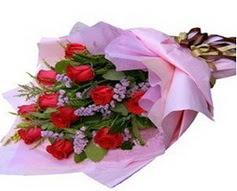 11 adet kirmizi güllerden görsel buket  Ağrı çiçek gönderme sitemiz güvenlidir