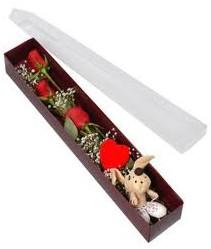 kutu içerisinde 3 adet gül ve oyuncak  Ağrı cicekciler , cicek siparisi