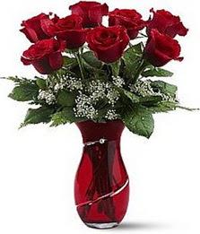 Vazo içinde 8 adet kirmizilar içinde güller  Ağrı internetten çiçek siparişi