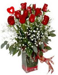 Ağrı çiçek siparişi vermek  9 adet mika yada cam vazoda gül tanzimi kalp çubuk