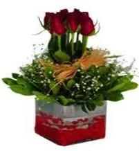 Ağrı çiçek gönderme  7 adet mika yada cam vazoda gül tanzimi