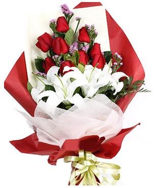 Ağrı çiçekçiler  1 dal kazablankaa 9 adet kırmızı gül buketi