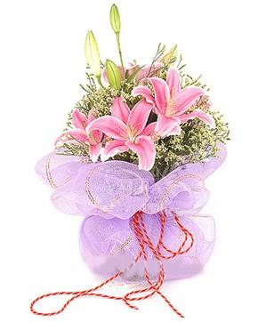 3 dal kazablanka görsel buketi  Ağrı internetten çiçek satışı