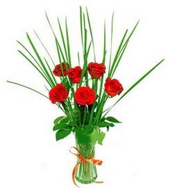 Ağrı çiçek , çiçekçi , çiçekçilik  6 adet kırmızı güllerden vazo çiçeği