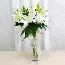Ağrı anneler günü çiçek yolla  2 dal kazablanka ile yapılmış vazo çiçeği