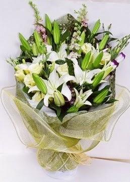 Ağrı çiçek servisi , çiçekçi adresleri  3 adet kazablankalardan görsel buket çiçeği