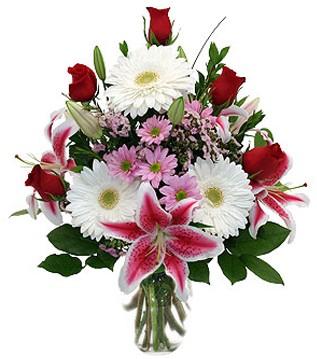 Ağrı çiçek mağazası , çiçekçi adresleri  1 dal kazablanka 5 gül ve kırçiçeği vazosu