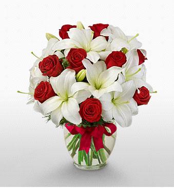 Ağrı hediye çiçek yolla  1 dal kazablanka 11 adet kırmızı gül vazosu