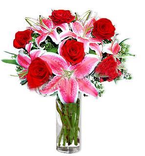 Ağrı çiçek yolla  1 dal cazablanca ve 6 kırmızı gül çiçeği