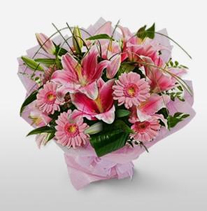 1 dal kazablanka ve kır çiçek görsel buketi  Ağrı internetten çiçek satışı