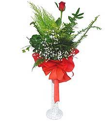 Ağrı anneler günü çiçek yolla  Cam vazoda masum tek gül