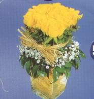 Ağrı anneler günü çiçek yolla  Cam vazoda 9 Sari gül
