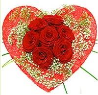 Mika kalp içerisinde 7 adet kırmızı gül  Ağrı çiçekçi mağazası