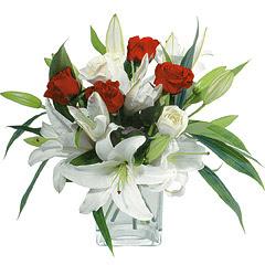 vazo içerisinde 4 gül 1 adet kazablanka  Ağrı online çiçek gönderme sipariş