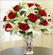 12 adet kırmızı gül 2 dal kazablanka vazosu  Ağrı çiçek satışı