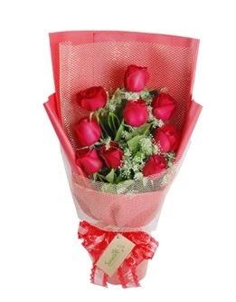 9 adet kırmızı gülden görsel buket  Ağrı ucuz çiçek gönder
