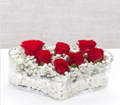 kalp içerisinde 7 adet kırmızı gül  Ağrı çiçek siparişi vermek