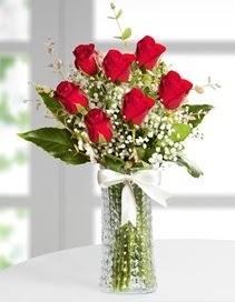 Cam vazoda 7 adet kırmızı gül  Ağrı çiçek , çiçekçi , çiçekçilik